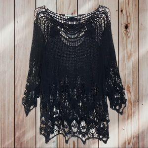 Maurices Blue Fringe Bell Sleeves Crochet Top